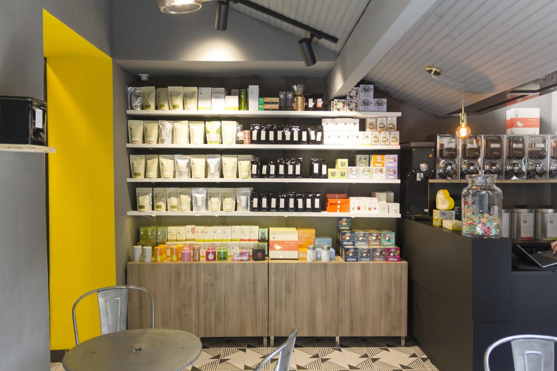 épicerie sur cour, étagère de thé conçu par pep's création