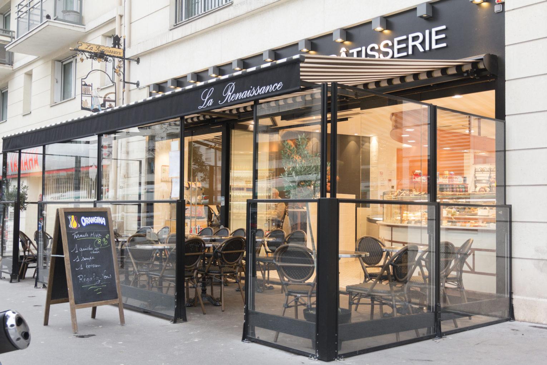 Boulangerie Pâtisserie La renaissance façade avec terrasse couverte conçu par Pep's création
