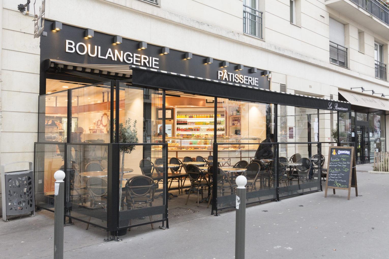 Boulangerie Pâtisserie La renaissance façade terrasse couverte conçu par Pep's création